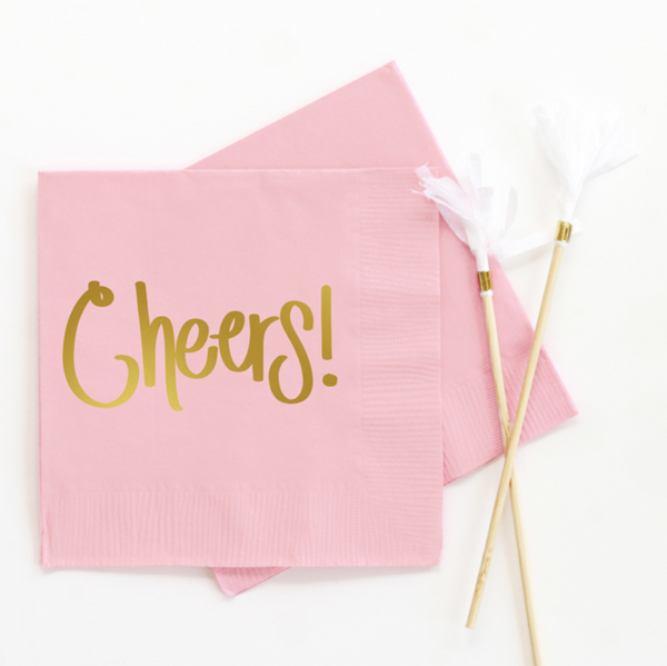 Cheers Beverage Napkin Light Pink - ModLoungePaperCompany