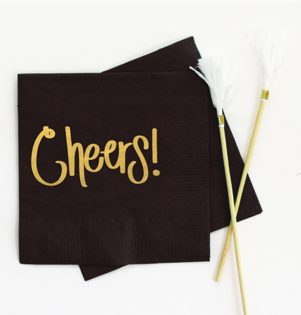 Cheers Beverage Napkin Black - ModLoungePaperCompany