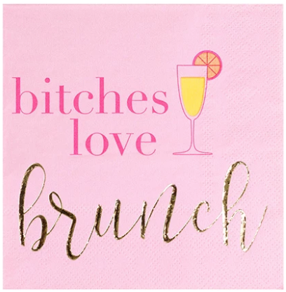 Bitches Love Brunch Beverage Napkin - ModLoungePaperCompany