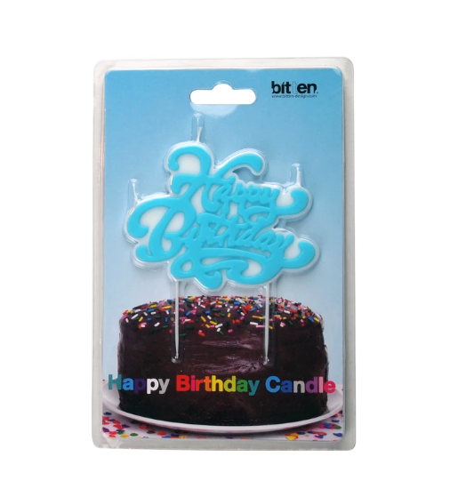 happy birthday blue retro script candle