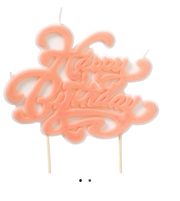Happy Birthday Script Candle Pink - ModLoungePaperCompany