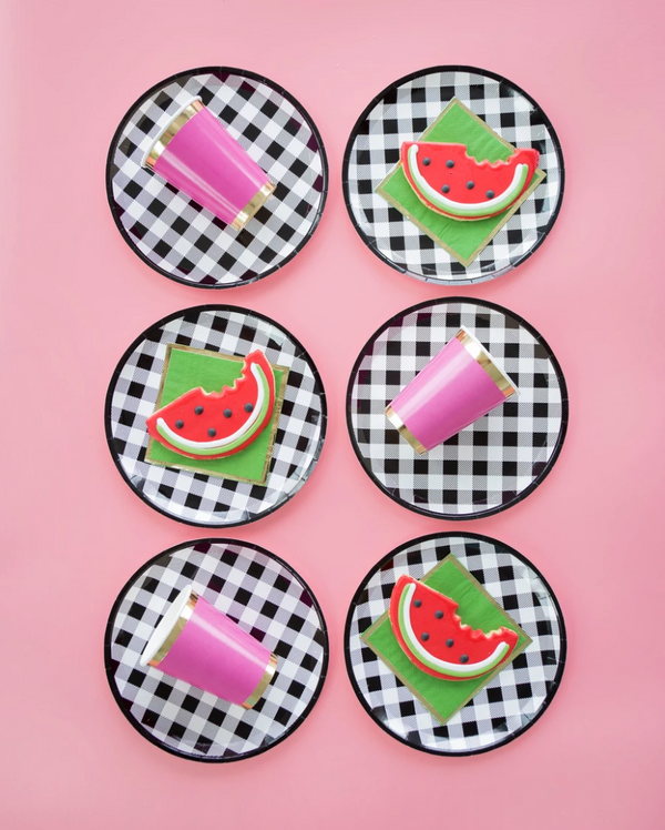 Black Gingham Dinner Plate - ModLoungePaperCompany