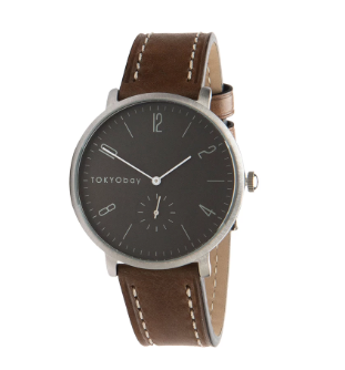 mens classic watch gray taupe leather