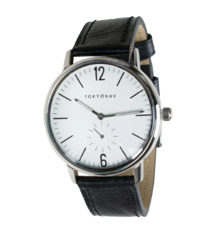classic mens black leather watch