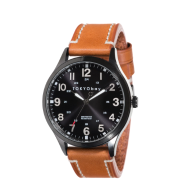 mens classic tan and black leather strap watch