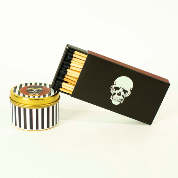 Mustache Skull Travel Candle
