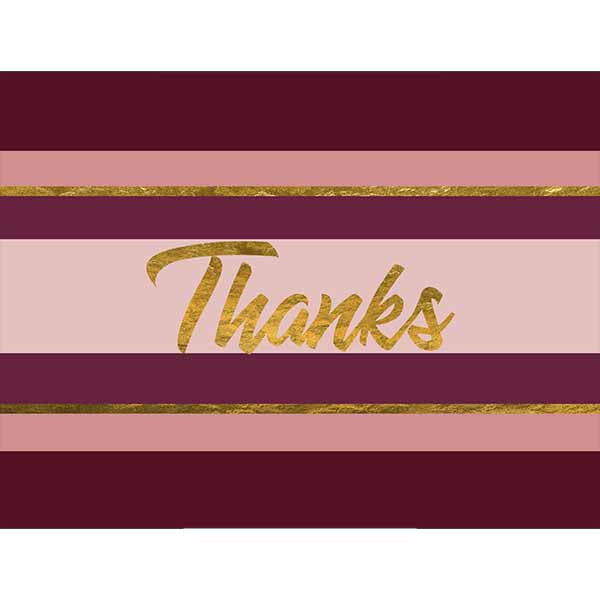 Wine Stripe and Gold Thank You Card - ModLoungePaperCompany