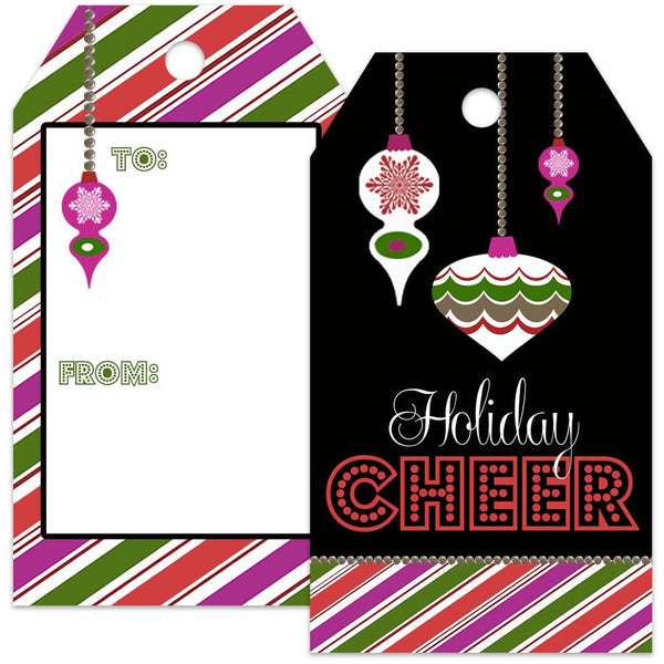retro ornament holiday gift tag
