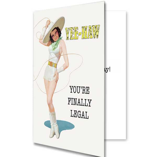 Western Lasso Pinup Girl 21st Birthday Card - ModLoungePaperCompany