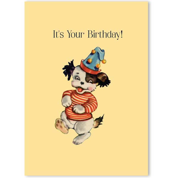 Vintage Dancing Dog Birthday Card A7 - ModLoungePaperCompany