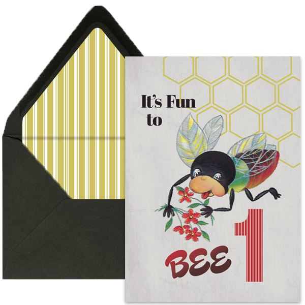 Vintage Bee One Year Old Birthday Card - ModLoungePaperCompany