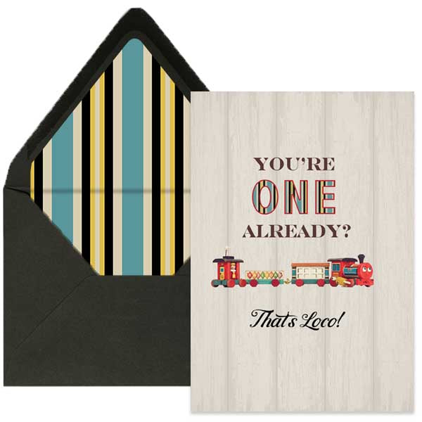 train first birthday card