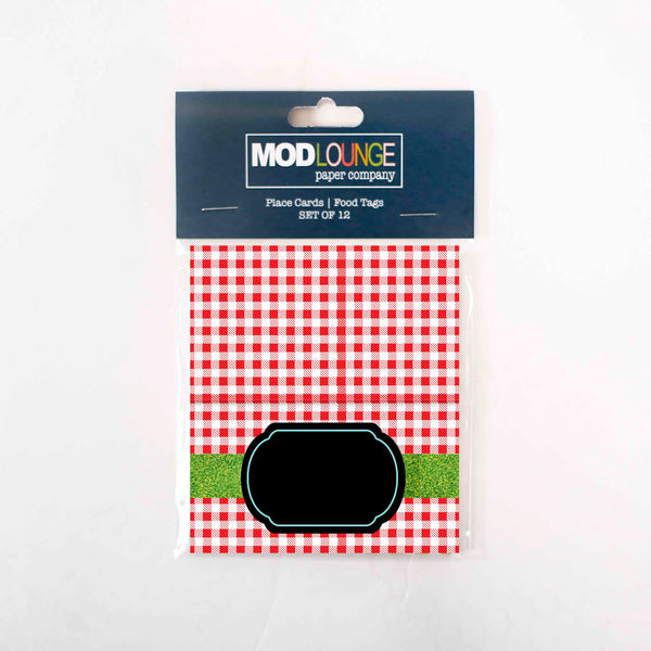 BBQ Buns Checked Place cards - ModLoungePaperCompany