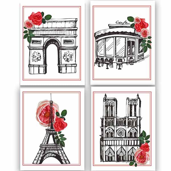 Paris Sketched Assorted Boxed Notecards