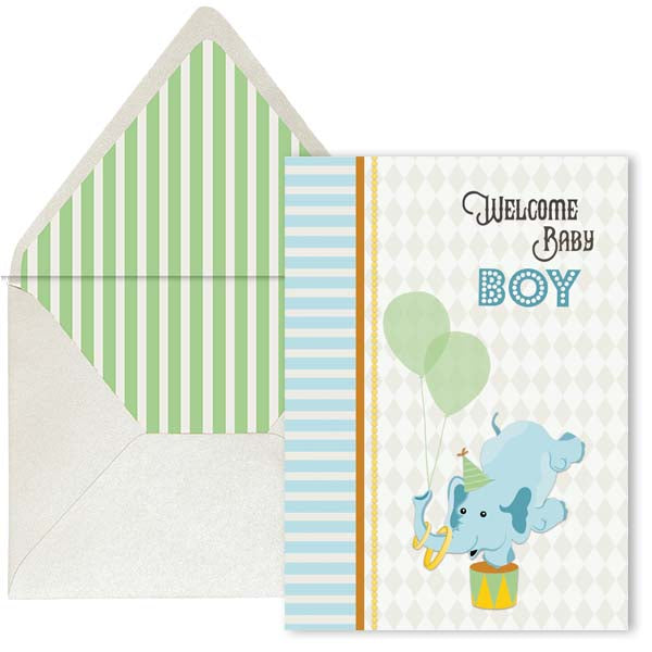 Vintage Circus Elephant Welcome Baby Card - Boy - ModLoungePaperCompany