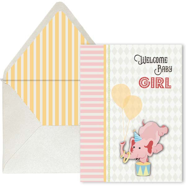 Vintage Circus Welcome Baby Card - Girl - ModLoungePaperCompany