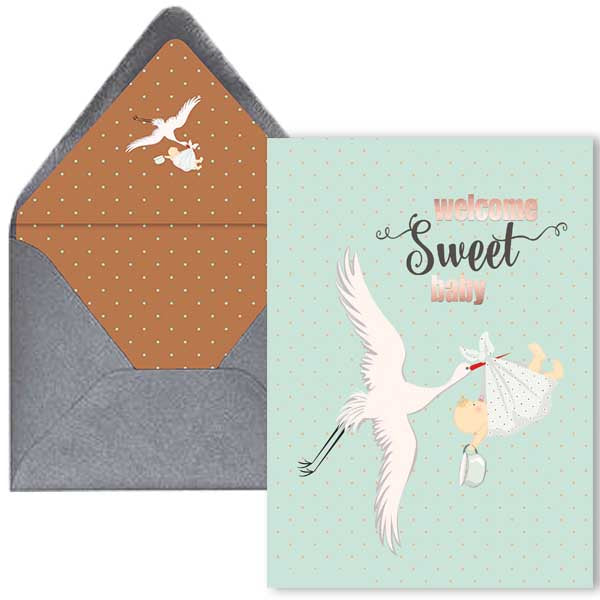 Vintage Baby Shower Card - ModLoungePaperCompany