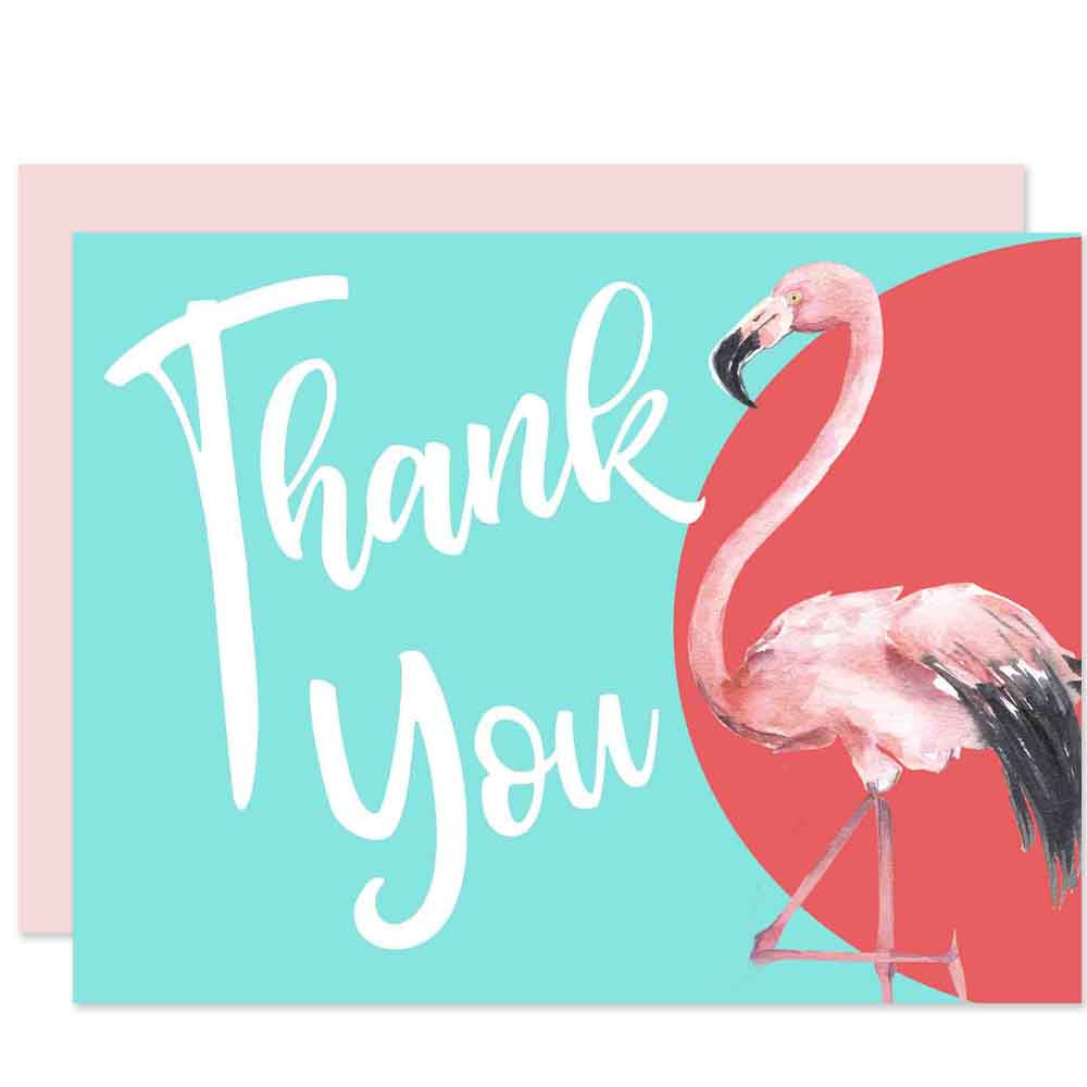 Flamingo Thank You Card - ModLoungePaperCompany