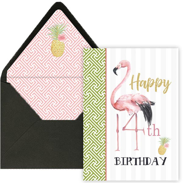Flamingo 14th Birthday Card - ModLoungePaperCompany