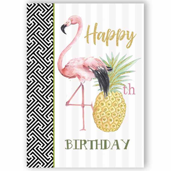 Flamingo 40th Birthday Card - ModLoungePaperCompany