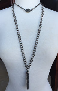 Gunmetal Chain Tassel Necklace