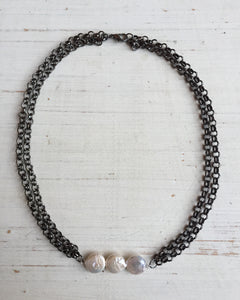 Three Coin Pearl Chain Choker