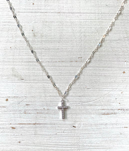 Mini Cross Silver Shimmer Choker