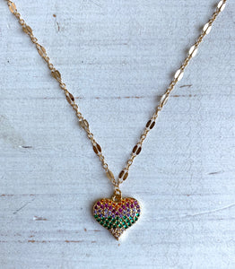Rainbow Crystal Heart Choker