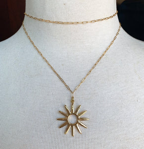 Gold Sun Link Chain Necklace
