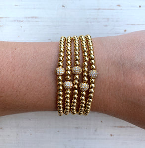 Metallic Stackables - Pave Gold 4mm