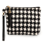 Black And White Houndstooth Makeup Bag/Wristlet wristlet Judson & Company