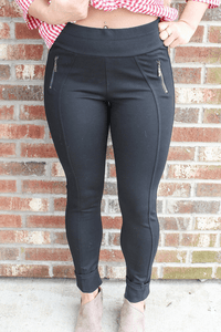 Black Skinny Jeggings With Zipper Pockets Bottoms Camille & Co