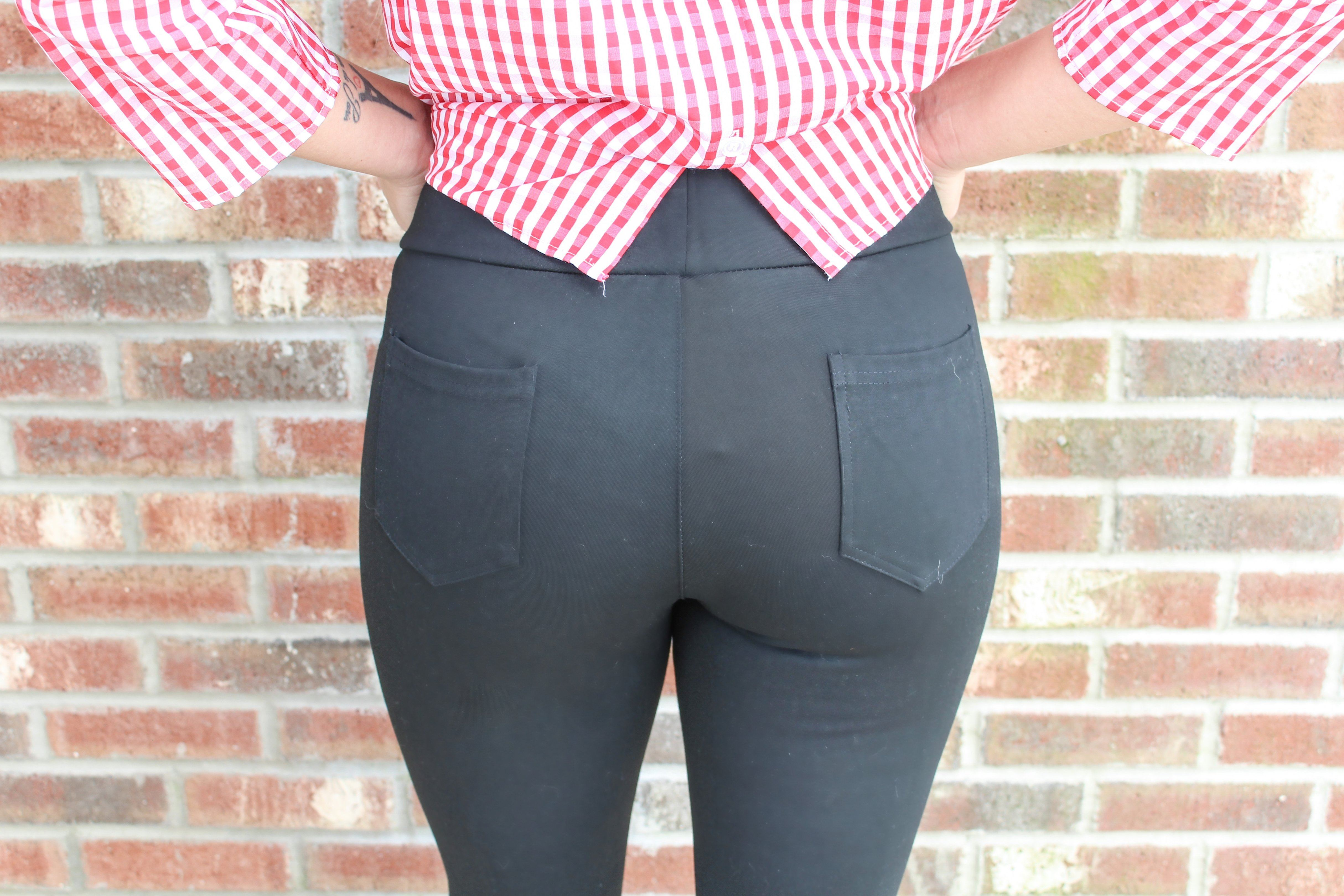 Black Skinny Jeggings With Zipper Pockets Bottoms