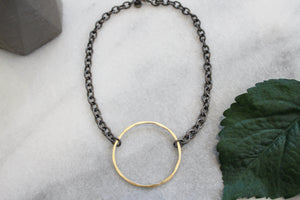 Chain Necklace with Gold Circle jewelry Ronda Smith Designs
