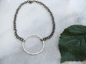 Chain Necklace with Matte Silver Circle jewelry Ronda Smith Designs