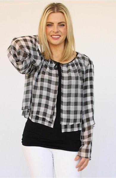 Black and White Checkered Capelet tops