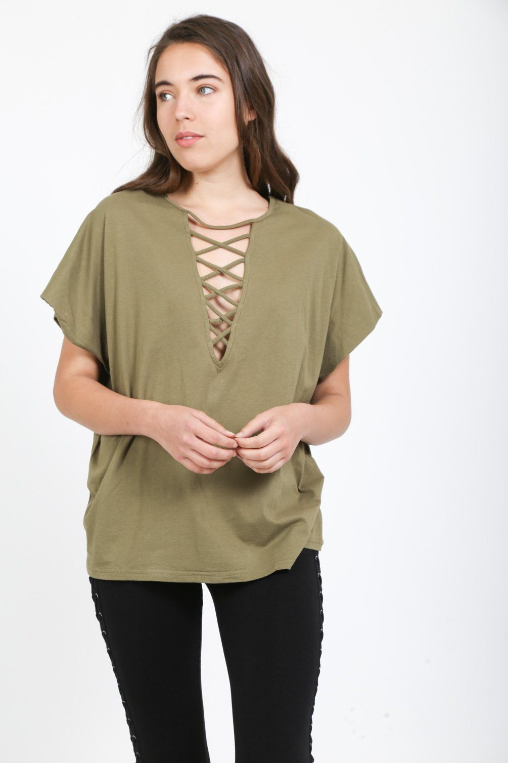 Criss Cross Deep Plunge Tee tops Loveriche s Olive