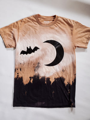 Dead Of Night Halloween Bleached Tee Handmade Honey and Rowe Boutique