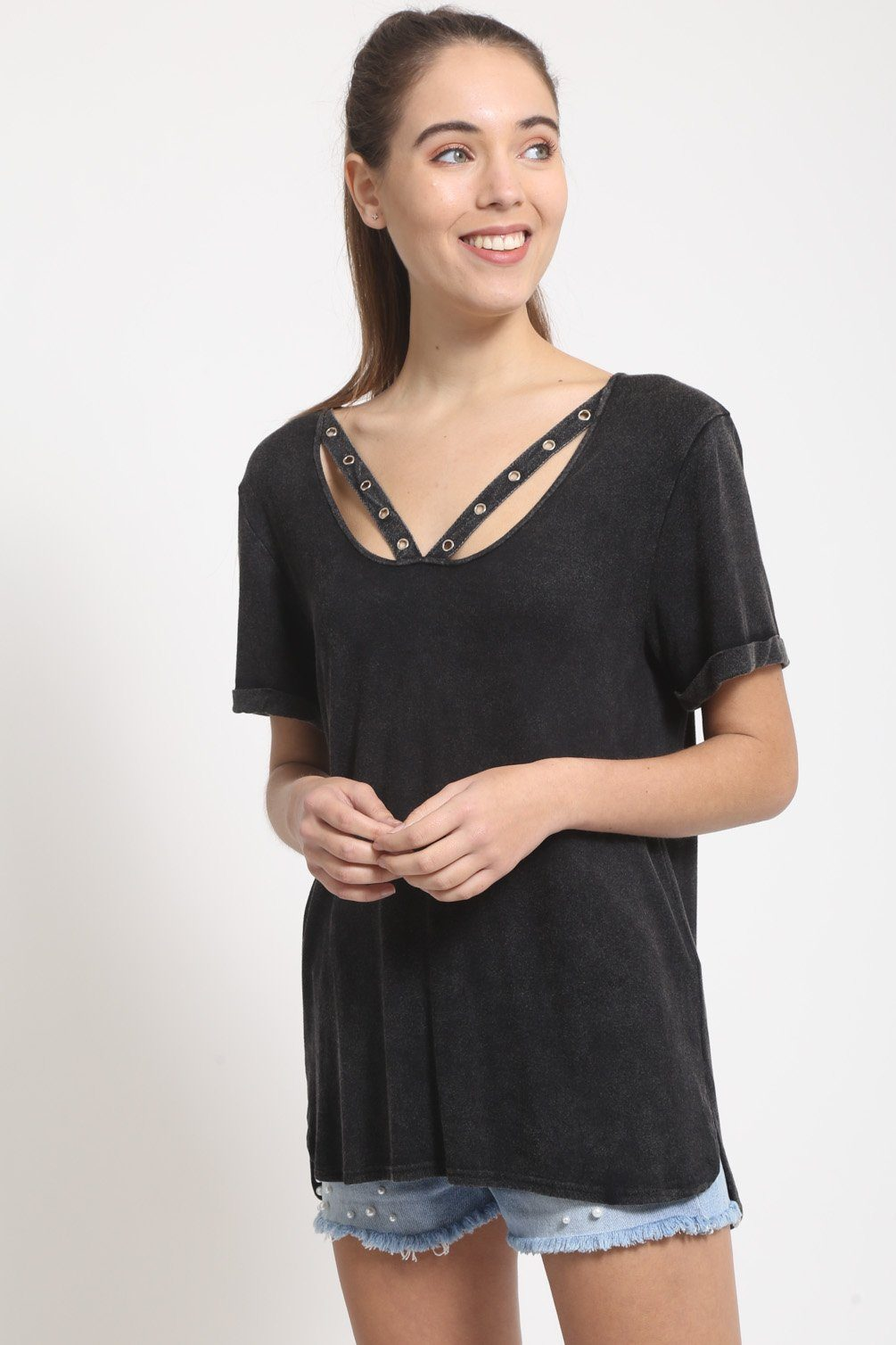 Distressed Black V-neck Tee with Eyelet Detailing tops
