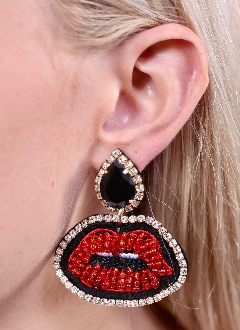 Don't Kiss And Tell Statement Earrings Earrings Caroline Hill
