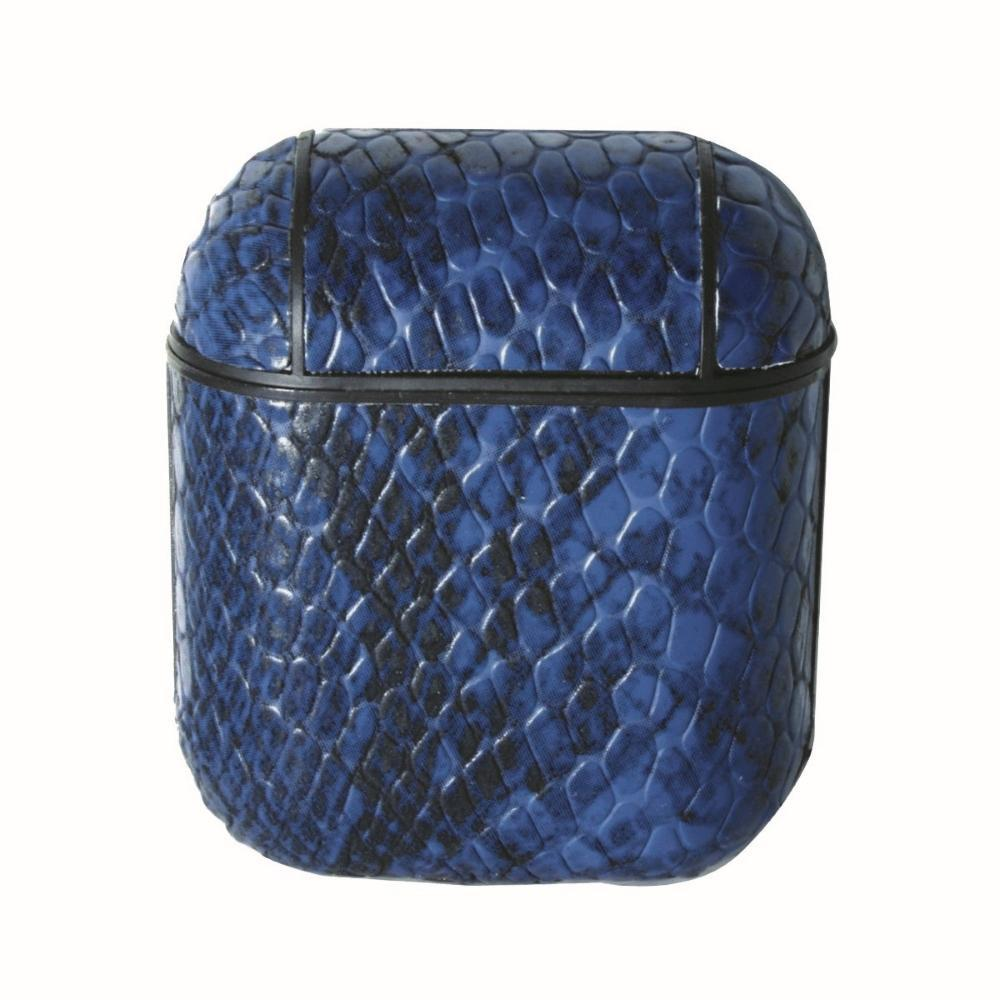 Faux Leather Snakeskin AirPod Case Blue Judson & Company