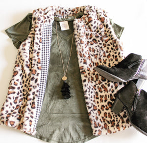 Feeling Fierce Faux Fur Leopard Vest vest The Royal Standard