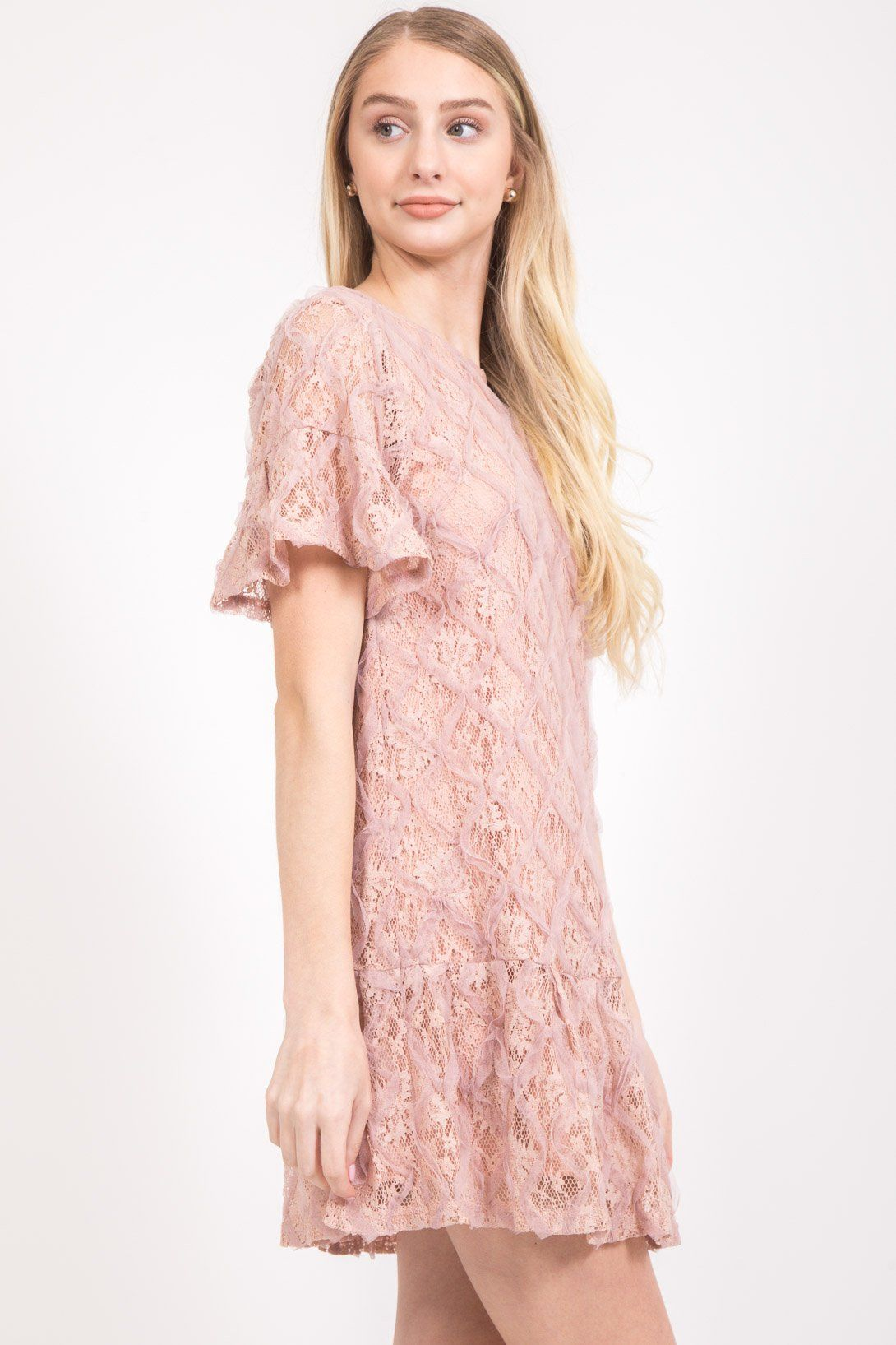 Flirty Blush Lace Dress
