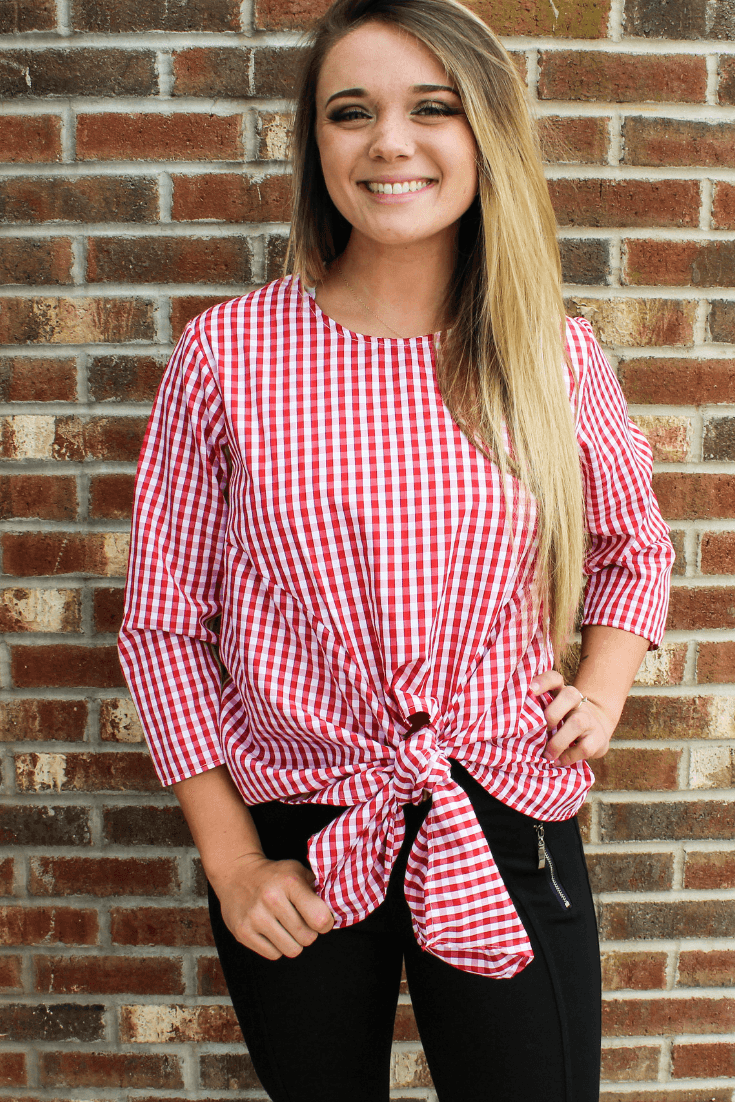Gingham Tie Front Top tops Camille & Co