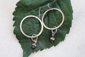 Hammered Matte Silver Earrings with Antique Dangle Rhinestone