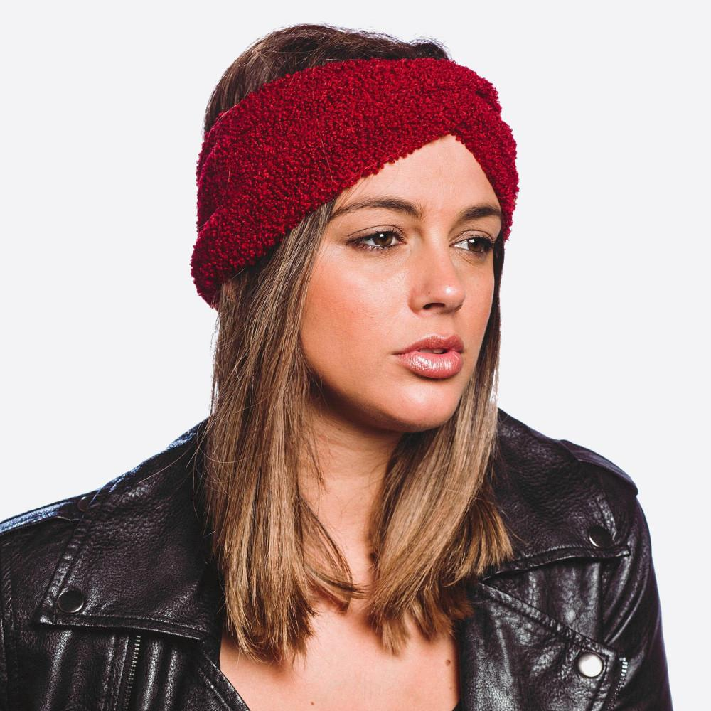 Knotted Fleece Headband Burgundy Headband Judson & Company