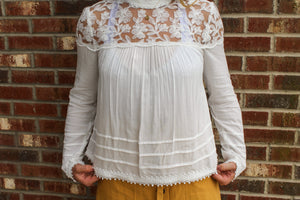 Lace Trim Blouse Off White tops