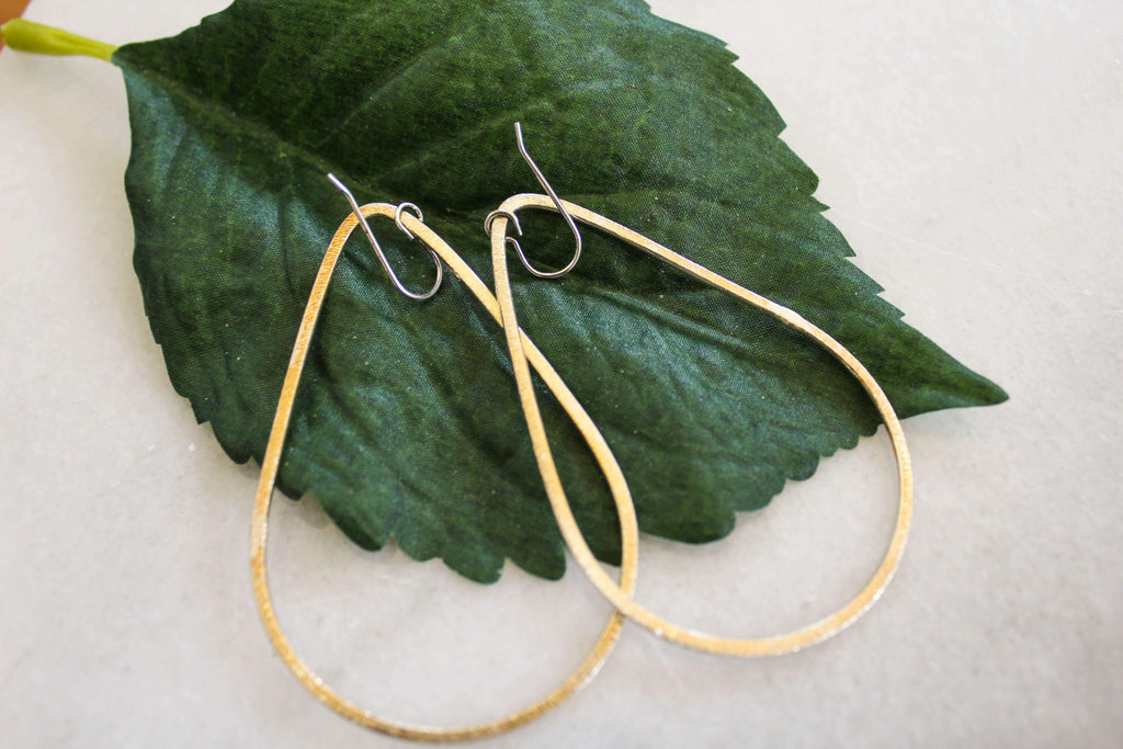 Large Matte Teardrop Earrings- Gold jewelry Ronda Smith Designs