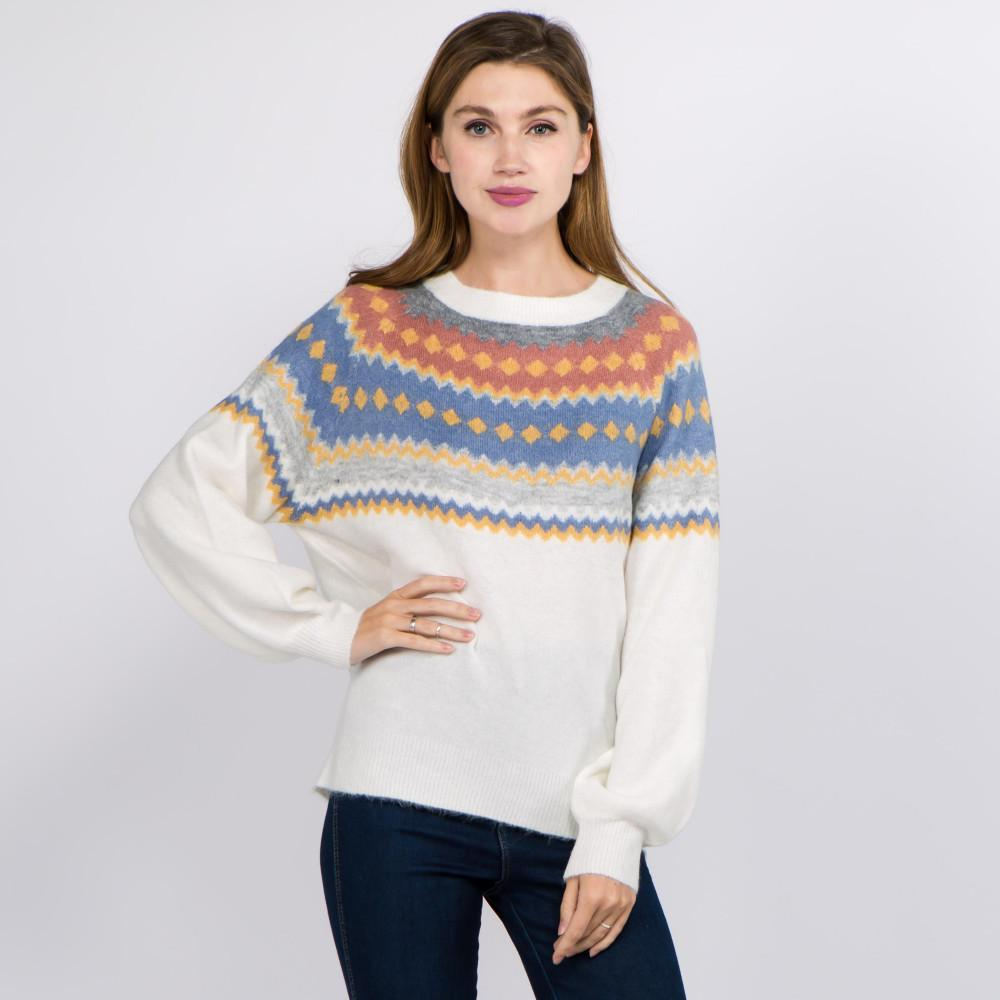 Let's Go Ice Skating Geo Print Top Cream Sweater Judson & Company