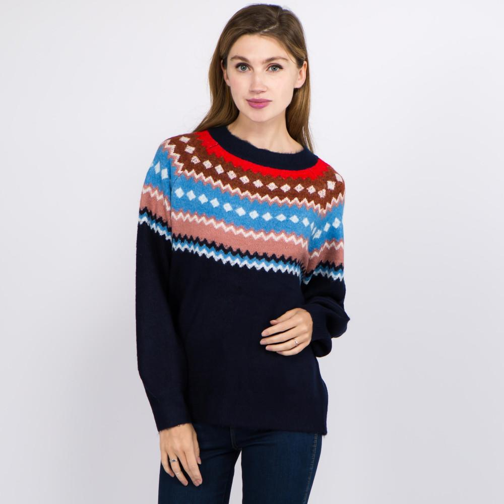 Let's Go Ice Skating Geo Print Top Navy Sweater Judson & Company